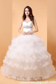 Vintage Ball Gown Wedding Dresses Sweetheart Beading Waist