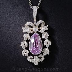 Edwardian Pink Sapphire, Platinum and Diamond Necklace - 90-1-6142 - Lang Antiques