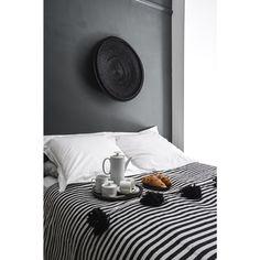 Moroccan Cotton Pom Pom Blanket Black White Stripes