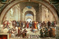 Raffaello Sanzio – 1483-1520  – İtalya  School of Athens - Atina Okulu  Raffaello, kariyerindeki en önemli eseri 'Atina Okulu' freskinde, eski Yunan filozoflarını tasvir eder. Tam ortada yan yana Eflatun, Aristo ve Sokrates bulunur. İdealar dünyasından mutlak düşünceye kadar felsefenin büyük argümanlarının içinde saklandığı eserde ressam, sanat çevresine rüştünü ispat etmiştir.