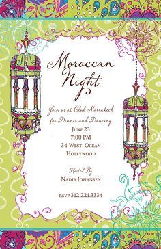 Moroccan Nights Invitation - A Moroccan theme is a great twist on the next party you are planning. Fun colors and beautiful design create t...
