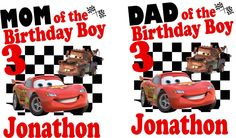 Mom of the birthday girl, dad of the birthday girl, disney cars family shirts, mom disney cars shirt, dad disney cars shirt by SaraSewtique on Etsy https://www.etsy.com/listing/220921936/mom-of-the-birthday-girl-dad-of-the
