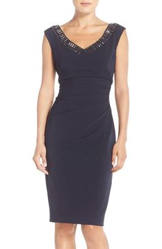 Maggy London Embellished Crepe Sheath Dress available at #Nordstrom