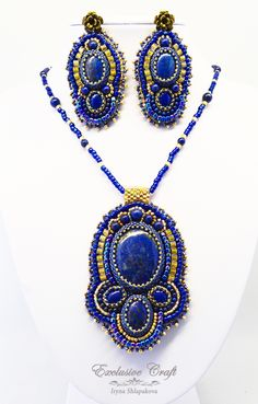 "Bead embroidery jewelry set with Lapis Azul ""Arabian Nights"" by Exclusive Craft.  www.exclusivecraftforyou.com"