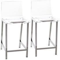 "Set of 2 Sanborn 30"" High Clear Acrylic Barstools"