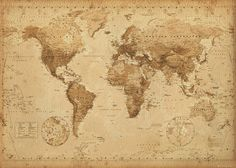 Framed World Map Vintage Dry Mount Poster Rust Wood Framed Perfect for Push Pins Or Tracking Trips Antique World Map, Old World Maps, Antique Maps, Antique Wood, Antique Prints, Old Maps, Vintage Prints, Framed World Map, World Map Canvas