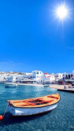 #Μykonos #waterfront ! Mykonos Island Greece, Greece Islands, Santorini, Paros, Beach Pictures, Cool Pictures, Nice View, Beautiful Places, Places To Visit