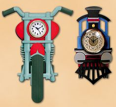 Collector Clock Pair Wood Patterns Fun and decorative wall clocks make great gifts for train or motorcycle collectors or fun wall decor for children's bedrooms. #diy #woodcraftpatterns