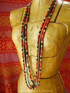 African Tribal Beaded necklace long strand von MorningDove auf Etsy