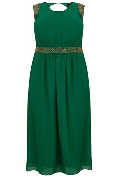 Green Chiffon Maxi Dress With Embellished Shoulders & Waistband