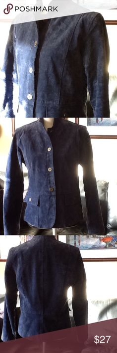 Beautiful blue Chico's leather/suede jacket Shell: 100% leather, fully lined in 100% polyester; professionally clean leather method only. Used condition with normal wear. Chico's Jackets & Coats
