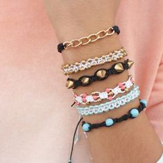 Mega Tutorial - Learn how to make 5 types of square knotted bracelets, and create the perfect arm party.