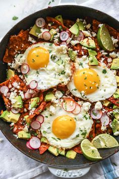 This super simple homemade chile enchilada sauce and sunny side up eggs make chilaquiles at home one of the quickest breakfast or brunch recipes that you'll totally be making for dinner too.