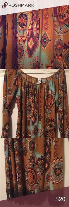 3/4 sleeve Suede Fringe Dress One of a kind fun suede fringe dress with awesome pattern. New- price tag still on tag. Dresses