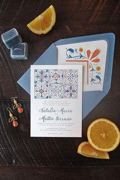 Vibrant hand painted watercolor Spanish tile wedding invitations in blue and orange with matching envelope liner Spanish Themed Weddings, Spanish Style Weddings, Spanish Style Decor, Wedding Invitation Suite, Invitation Design, Wedding Stationery, Spanish Wedding Invitations, Invitation Cards, Invites