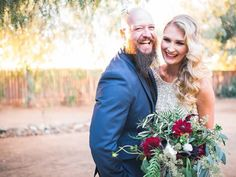 Pure joy. (And an amazing bouquet!) Randy + Ashley, Palm Springs and Southern CA Wedding Photographers.