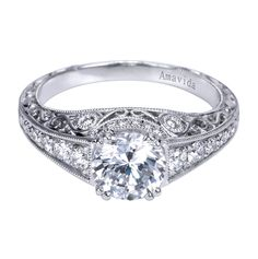 An intricate Victorian engagement ring. We love this and the inspiration from Queen Victoria and her marriage to Prince Albert. This engagement ring by Gabriel & Co. is absolutely beautiful! This unique piece has so much detail all throughout it making it so stunning!