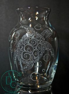 Glass Etched Sea Turtle Vase, Sandblasted Sand Carved Glass Art Glass Etching Beach - pinned by pin4etsy.com
