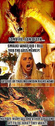 Daenerys sneaks off to Erebor, wearing Thranduil's gown...  (Saved from Facebook.com).
