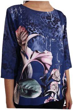 Blusa estampada con motivos florales y manchas.tono azul marino. Kenzzo modas.