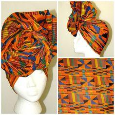 Long Beautiful Orange and Blue Multi African Kente Ankara Print Headwrap  #ankara #waxprint #africanprintsinfashion #africanprint #kente #headwrap #headwraps #diy #naturalhair #anyhair #headpiece #crown #royal #wrappedhead #etsy