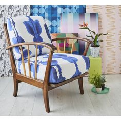 Galapagos Furniture Midcentury Armchair In Korla Ink Blue Inkat ($1,030) ❤ liked on Polyvore featuring home, furniture, chairs, accent chairs, blue, mid century modern chairs, fabric chairs, upholstered accent chairs, blue arm chair and blue accent chair