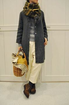 SARAH [Rakuten] (Sara) / Linen Collarless Jacket: acoustics (Acoustics) everything about this Student Fashion, School Fashion, Stylish Outfits, Cool Outfits, Fashion Outfits, Collarless Jacket, Vintage Inspired Dresses, Japan Fashion, Winter Outfits