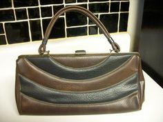 50s Kizmet Creations Handbag, curved stripes, brown and black, vegan by ditchrosevintage on Etsy