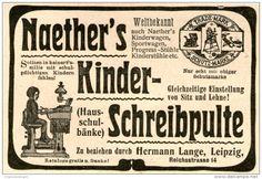 Original-Werbung/Inserat/ Anzeige 1902  : NAETHER´S KINDER-SCHREIBPULTE / HERMANN LANGE LEIPZIG ca. 90 x 40 mm