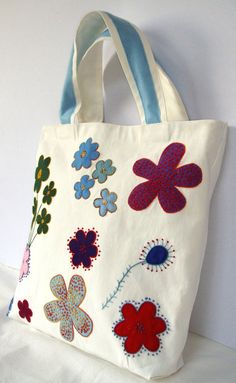 Spring Summer tote / Canvas white appliqued with by Apopsis, $70.00