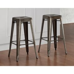 @Overstock.com - Tabouret Vintage Bar Stools (Set of 2) - With its sturdy steel construction, these steel stools offer a vintage industrial look. These bar-height stools are fully assembled, stackable and feature non-mar foot glides.  http://www.overstock.com/Home-Garden/Tabouret-Vintage-Bar-Stools-Set-of-2/6839587/product.html?CID=214117 $109.99