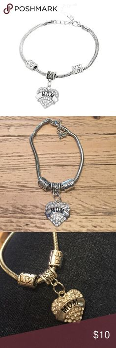 """New Mom bracelet. Great gift 100% Brand new and high quality Material:Alloy,rhinestone Chain Length: Approx 7.5""""(inches) Color: Sliver Packing: 1pc Bracelet Jewelry Bracelets"""