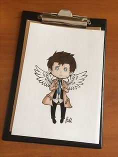Brushmarkers , drawing , art , fanart , castiel , supernatural , promarkers , cute , love