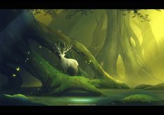 little greenwood by megatruh deer antlers spirit ghost guardian forest woods monster beast creature animal | Create your own roleplaying game material w/ RPG Bard: www.rpgbard.com | Writing inspiration for Dungeons and Dragons DND D&D Pathfinder PFRPG Warhammer 40k Star Wars Shadowrun Call of Cthulhu Lord of the Rings LoTR + d20 fantasy science fiction scifi horror design | Not Trusty Sword art: click artwork for source