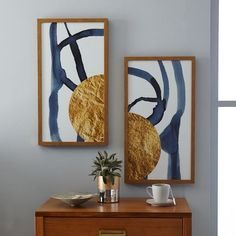The Arts Capsule Ink Diptych - Half Moon | west elm