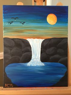 Sunset over the waterfall by AC
