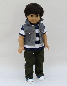 American Girl Boy Doll Clothes  Denim Vest Carpenter by Minipparel, $38.00