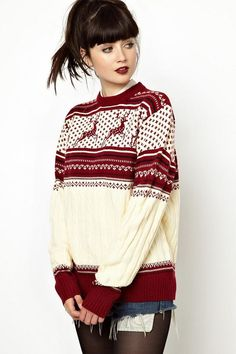 Deer running knit sweater $34