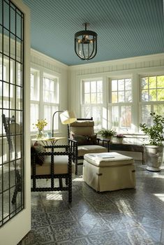 Blue bead board  ceiling, color combination, lighting, shutters...Love this room! @jenn Duncan Ceiling