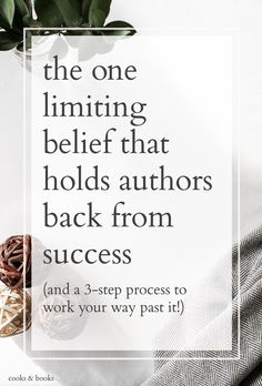 As a Literary Agent, I see this one big pitfall keeping so many authors from making their books successful. It's by far the most common cause of a failed book release! http://cooksplusbooks.com/2016/01/26/the-one-limiting-belief-that-holds-authors-back-from-success-and-a-3-step-process-to-work-your-way-past-it/?utm_content=buffer47395&utm_medium=social&utm_source=pinterest.com&utm_campaign=buffer