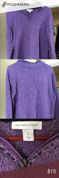 Christopher & Banks XL Purple Sweater My favorite purple, flawless sweater that has a partial zipper down the neck. Gently worn, but in great shape. The sweater has beautiful black stitching along bottom of sleeves and body of sweater. Goes very nicely with black jeans!   Bundle more than one CB sweater listed on my site, i will sell for 2/$25 XL made in China  It is not pleated in back; it was folded away in a tote. Christopher & Banks Sweaters Crew & Scoop Necks