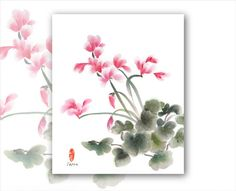 Watercolor Chinese Brush Painting Cards Poppies2 by Vartus