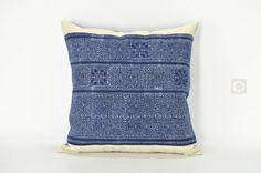 """Indigo Pillow Cover Hmong Batik, Ethnic Boho Hmong Throw Pillow Cover, Tribal Textile Bohemian Cushion Cover  18"""" x 18"""" / 469"""