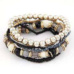 Bohemian Summer Jewelry MutiLayer Beads Bracelets & Bangles for Women Elastic Strand Bracelet