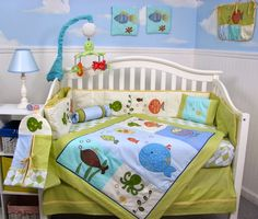 Green and Blue Ocean crib set - Under the Sea Baby Nursery