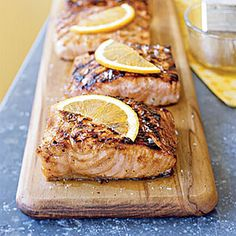 Maple Grilled Salmon courtesy of Cooking Light. This sounds super yummy Salmon Recipes, Fish Recipes, Seafood Recipes, Great Recipes, Cooking Recipes, Favorite Recipes, Healthy Recipes, Cooking Tips, Grilling Recipes