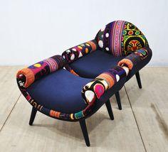 Smiley patchwork armchair blue sky por namedesignstudio en Etsy