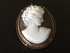 Vintage Brooch Pin Gold Filled Deco Victorian Revival Carved Hard Stone Cameo 72