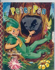Vintage 1950's Children's Bonnie Television Book Peter Pan w Working Wheel