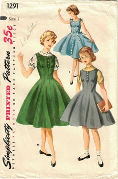 Simplicity 1291 Vintage Sewing Pattern Girls Party Dress Fitted and Flared Dress Full Skirt Dress Jumper Blouse Size 7 Sewing Patterns Girls, Vintage Patterns, Clothing Patterns, Dress Patterns, Jumper Patterns, Girls Party Dress, Girls Dresses, Beautiful Party Dresses, Full Skirt Dress